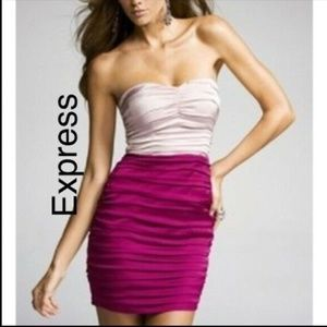 Express Strapless Pink Two Tone Ruched Dress S 4